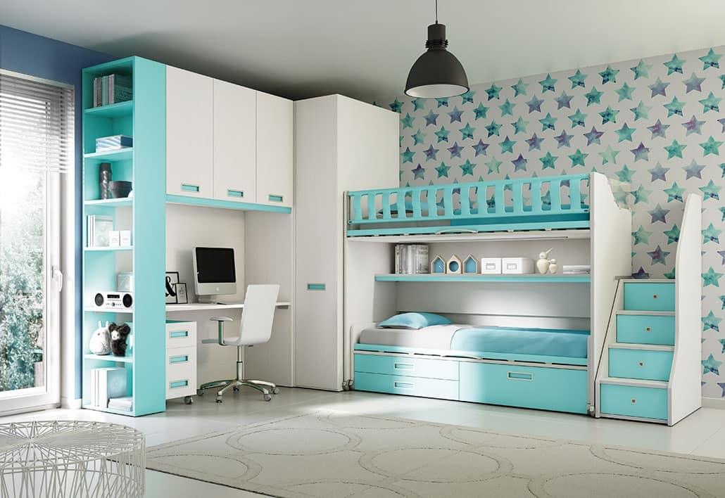 Soppalco con letto scorrevole per camere moderne idfdesign - Camerette con letto a soppalco ...