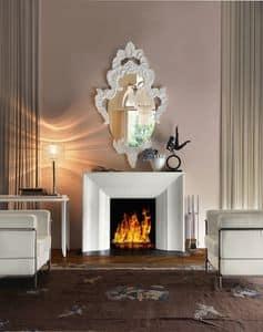 Art. VL411, Elegante caminetto in legno bianco