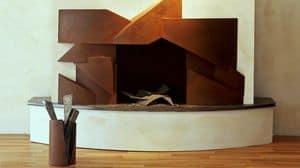 BAI.03, Camino in acciaio, in stile geometrico, per salotti