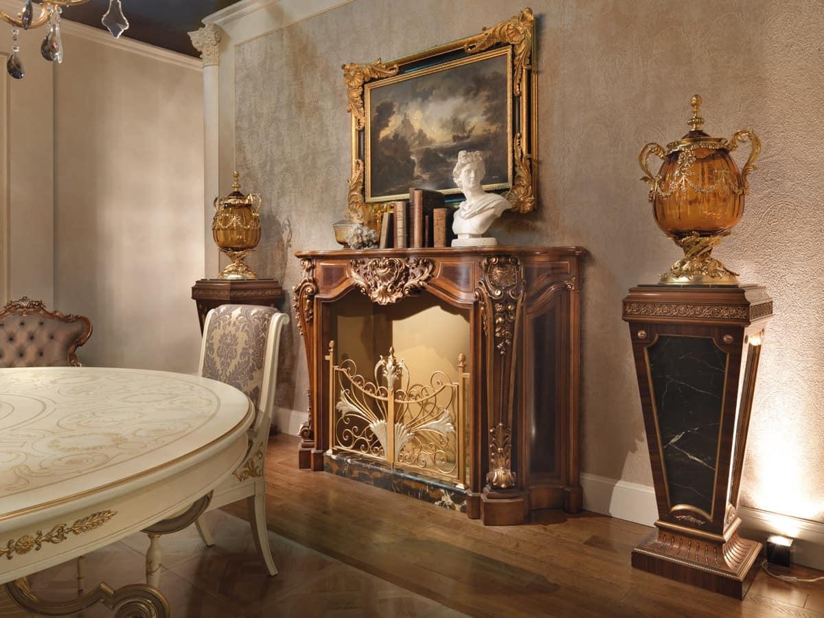 Caminetto in stile luigi xv in legno intagliato idfdesign for Caminetti da arredo