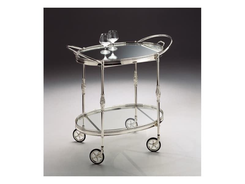 Carrello in ottone argentato vassoio asportabile idfdesign - Carrello portavivande design ...