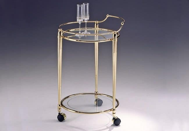 Carrello rotondo in ottone piano in vetro per salotto for Tavolini piccoli da cucina