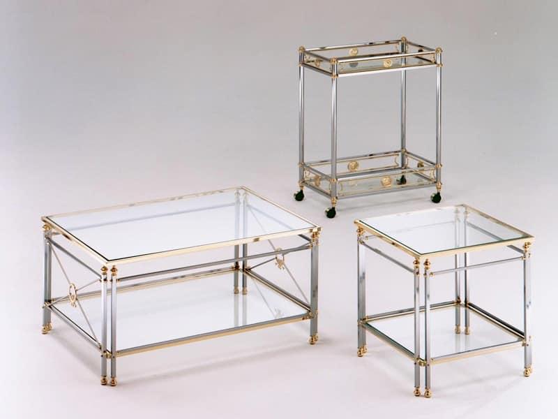 Carrello in acciaio e ottone piano in vetro temperato - Carrelli per cucine ...