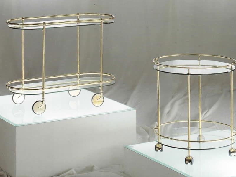 Carrello ovale in metallo con ruote piano in cristallo - Carrello porta liquori ...