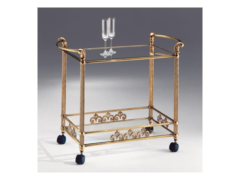 Carrello in ottone bronzo antico piano in cristallo for Carrello portavivande amazon