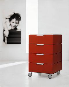 PRISMA comp.02, Cassettiera minimalista con ruote, per ufficio moderno