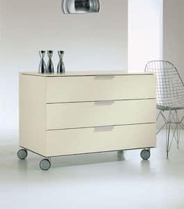 PRISMA comp.03, Cassettiera con ruote per la casa, finiture in alluminio