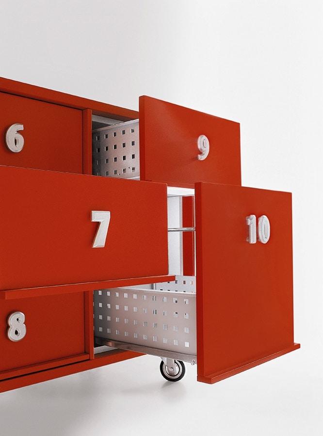 TOOLBOX comp.02, Contenitori per documenti con ruote, per Reception
