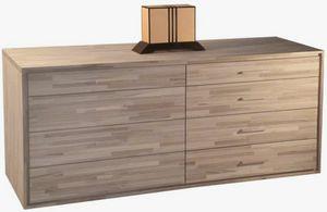 4+4, Cassettiera in legno con maniglie corte