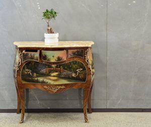 Art. 358, Comò con piano marmo e dipinto decorativo