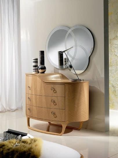 CO13 Iride, Com� in legno, tre cassetti, piano di appoggio a 2 livelli