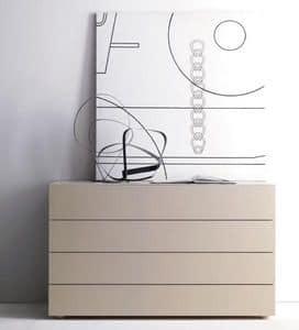 LARA cassettone, Cassettone per camera da letto, con 4 cassetti