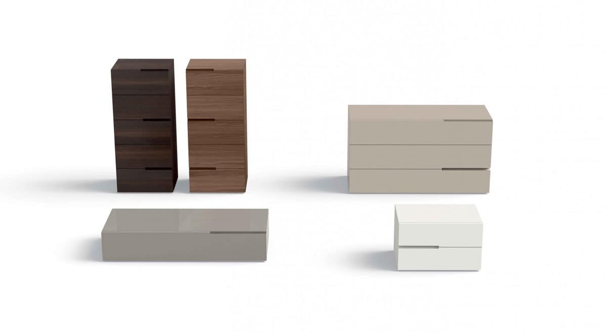 Cassetti con maniglia incavata per camera da letto idfdesign - Cassettiere camera da letto design ...
