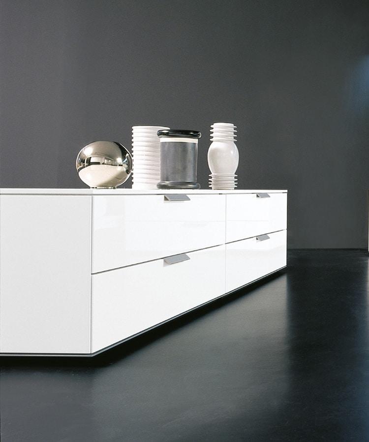 Mobile basso a cassetti in stile essenziale per soggiorno - Mobile basso moderno ...