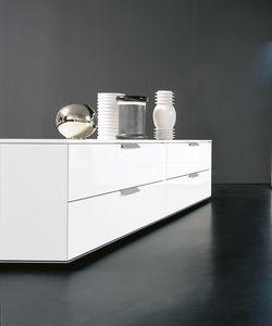 PRISMA comp.01, Mobile basso a cassetti in stile essenziale, per soggiorno
