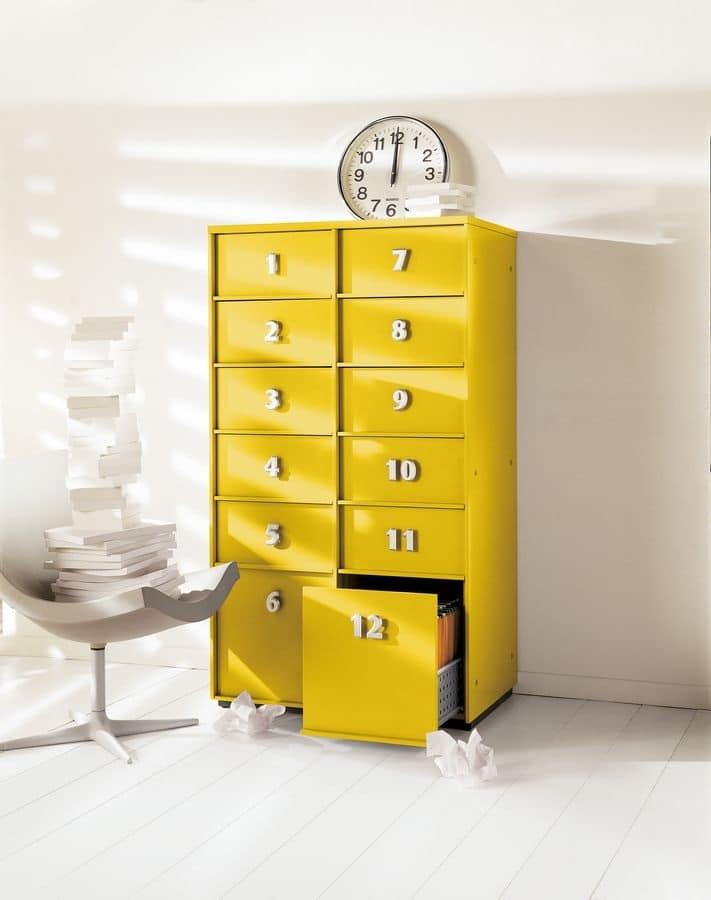 Mobile a cassetti giallo per la casa e l 39 ufficio idfdesign for Mobile per ufficio