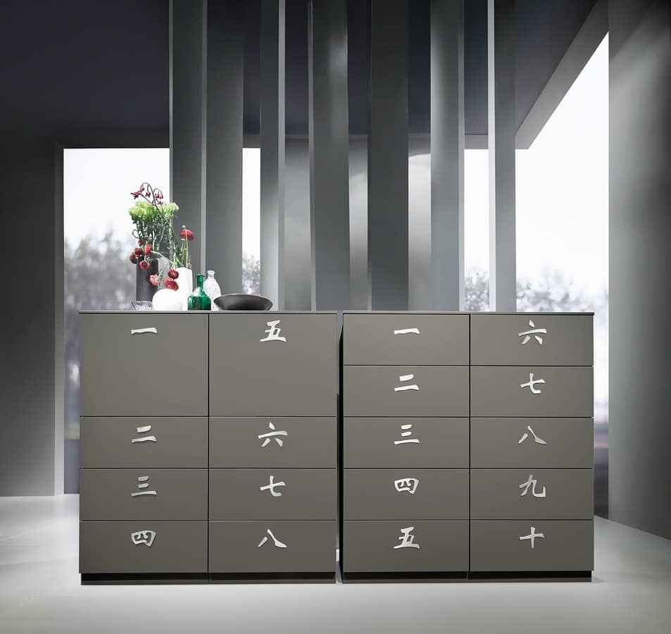 XIAN comp.01, Mobile a cassetti per biancheria, in abete invecchiato