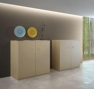 XIAN comp.04, Mobile design per soggiorno, forma squadrata, con 2 ante