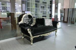 Monet Zebra, Dormeuse barocca realizzata a mano, stile classico di lusso