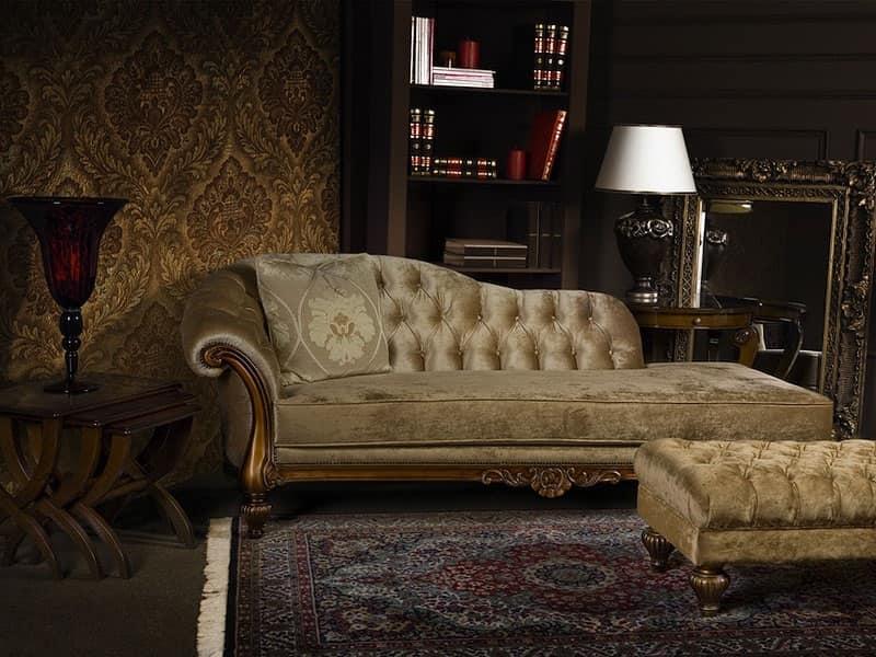 ATENA chaise longue 8556L, Chaise longue imbottita in poliuretano, capitonnè, per hall