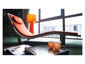 Boomerang, Chaise longue in legno massello, rivestimento sfoderabile