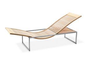 Chaise longue Sauna Vita, Chaise longue per spazio sauna, in faggio e acciaio