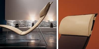 Relax CU, Chaise longue in metallo cromato, rivestimento in cuoio