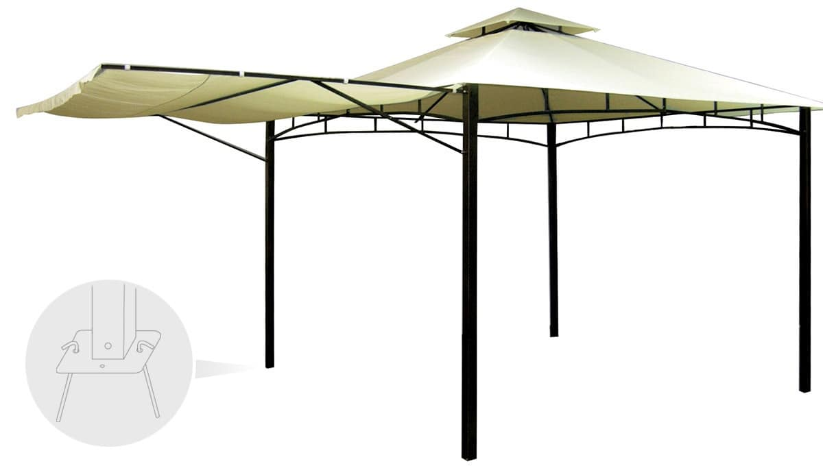 Gazebo 3,3 x 3,3 metri bar veranda mercato Antigua – AN330POL, Telo di ricambio per gazebo, veloce da montare