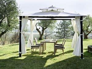 Hawaii, Gazebo in ferro per giardino, con tende, predisposto per fissaggio