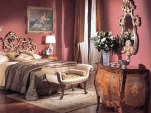 3245 COMO', Com� classico di lusso a 3 cassetti, in legno intarsiato