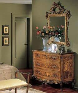 3265 COMO', Comò in legno con 3 cassetti, stile classico di lusso