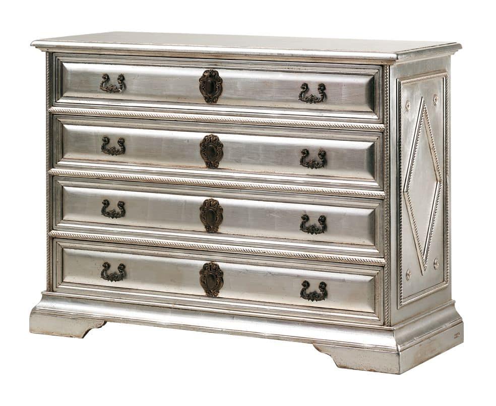 Angelico RA.0754, Comò in legno ebanizzato con 4 cassetti, in colore argento, per ambienti in stile classico di lusso