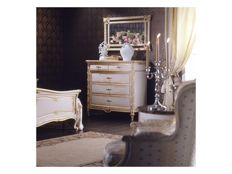 Art. 2001 comò, Comò classico, finitura bianca su foglia oro, per ville di lusso