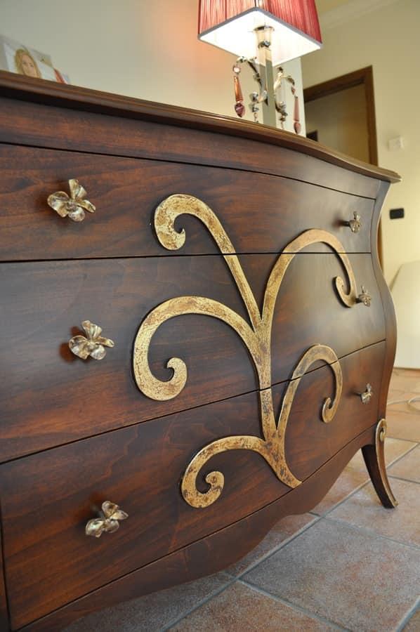 Art. 2302 Karina, Comò con 3 cassetti, con finitura anticata, per Camere da letto