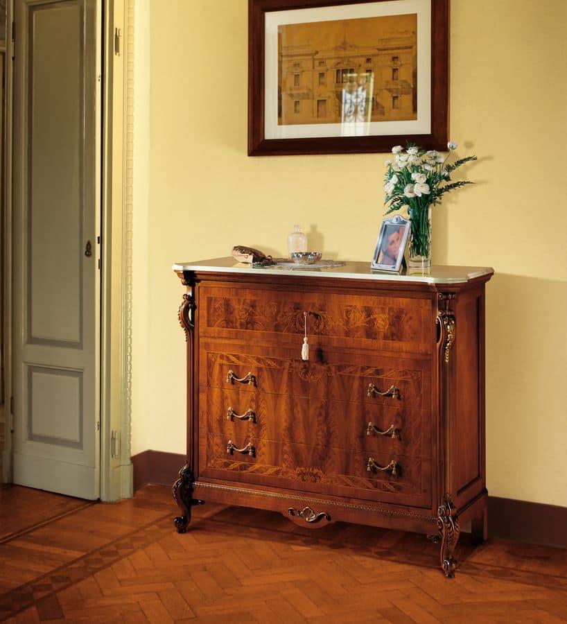 Com classico in noce con ribalta piano in marmo idfdesign for Borghi arredamenti