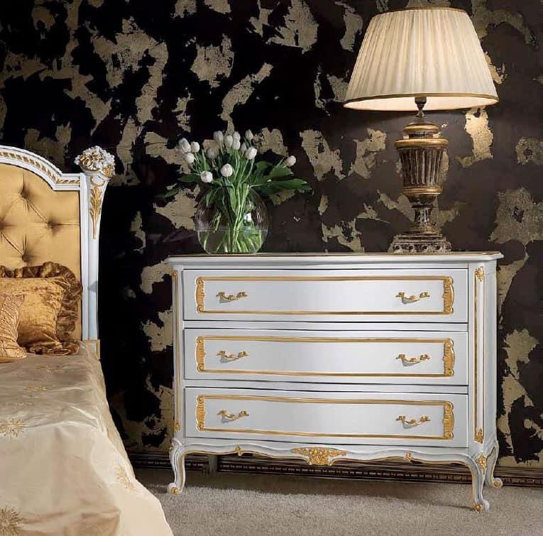 Art. 357/L, Comò in legno decorato con 3 cassetti, stile classico