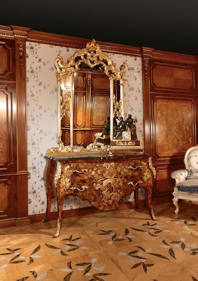 Com intarsiato per lussuose camere da letto con specchiera dorata idfdesign - Camere da letto classiche di lusso ...