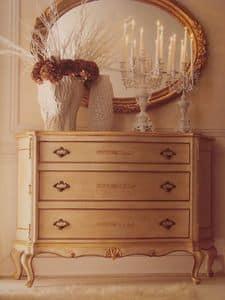 Art. 5335, Comò laccato con finiture oro per camere da letto di lusso