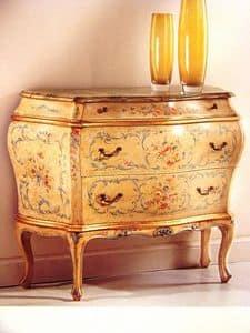 Art. 929, Comò classico di lusso per camere da letto, comodino laccato per la casa