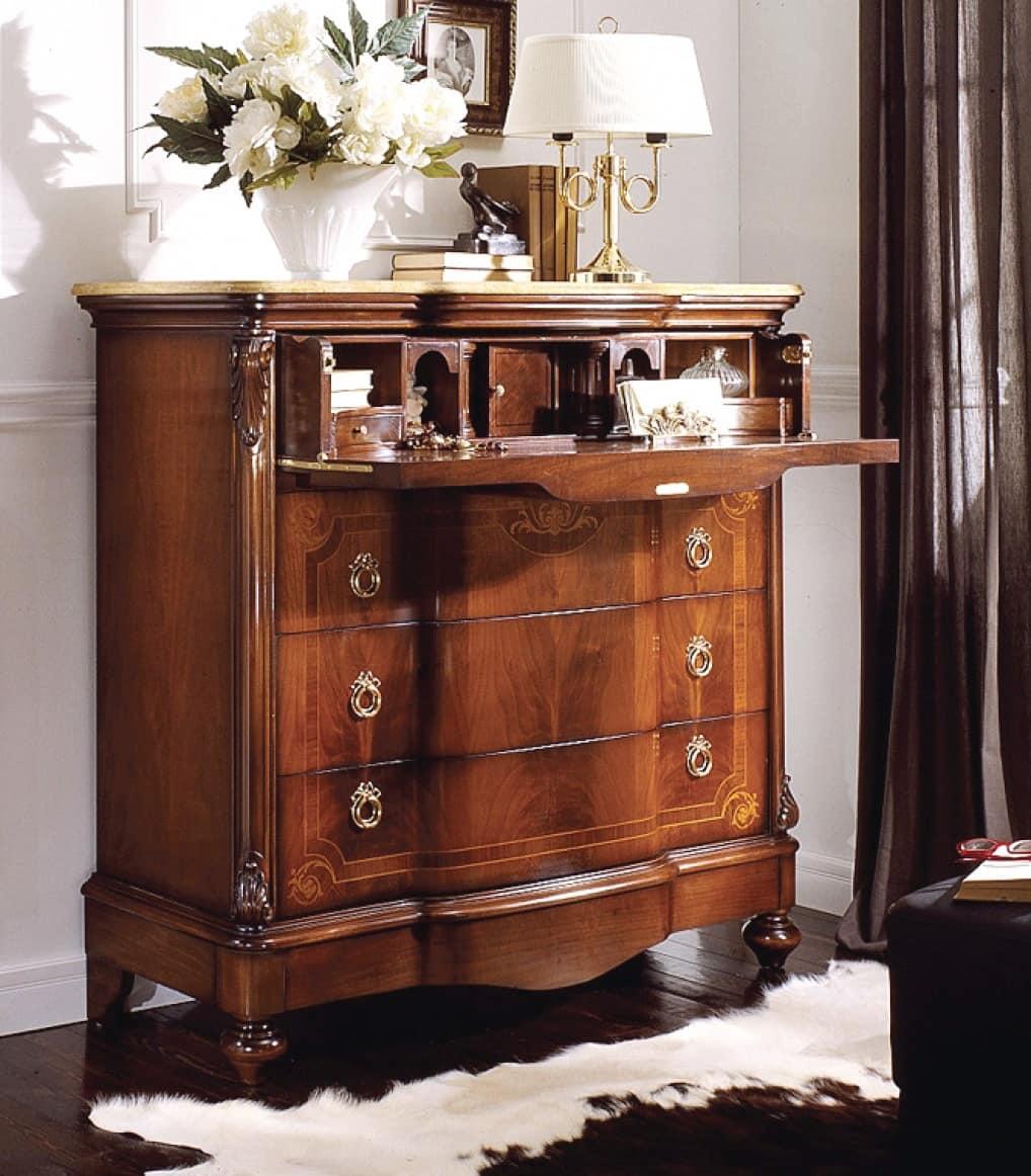 Com intarsiato con ribalta piano in marmo giallo reale for Negozi mobili como