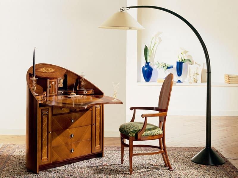 C259 Neoclassico trumeau, Trumeau neoclassico, con ribalta, in ciliegio massello