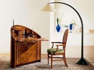 C259 Neoclassico, Trumeau neoclassico, con ribalta, in ciliegio massello