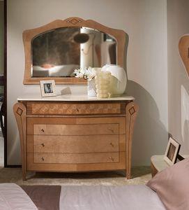 CO26B Charme, Comò con piano in marmo, in legno intarsiato