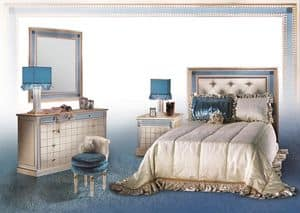 Dahalia C/424/C/2, Comò classico con specchiera, Arredo camera di lusso