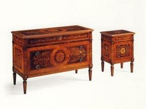 De Foe, Comò classico in legno massello con 3 cassetti intarsiati