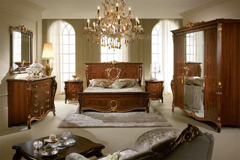 Donatello comò, Cassettiere in legno intagliato, stile lussuoso neoclassico, per la zona notte