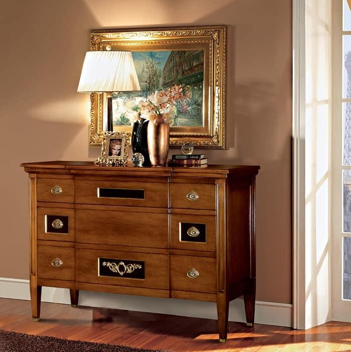 Com in legno di noce decorato artigianalmente idfdesign - Mobile per ingresso classico ...