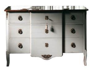 Marseille VS.1041.A, Comò  in noce, 3 cassetti e piano in legno, fregi in ottone, in stile classico
