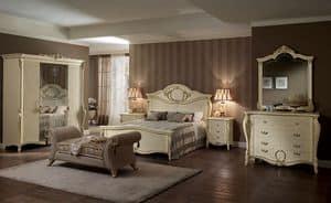 Tiziano comò, Comò classico, con 4 cassetti, per camere dal letto e alberghi di lusso