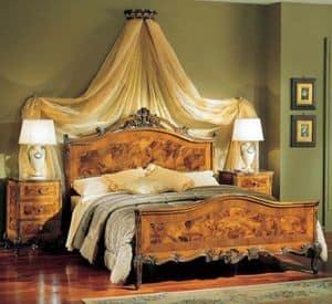 3265 COMODINO, Comodino in legno con 3 cassetti, stile classico di lusso